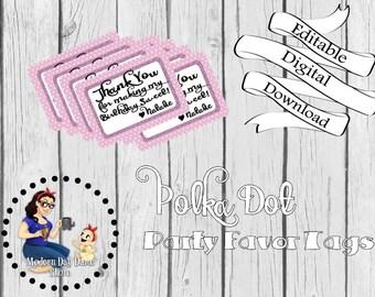 Polka Dot Party Favor Tags - Digital Download