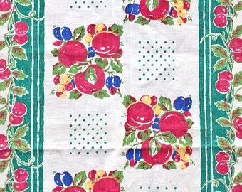 Vintage Towel, Vintage Dish Towel, Vintage Kitchen Towel, Print Towel, Fruit Towel,  Red, Pink, Green, Blue, Plum, Blueberry, Cherry Towel