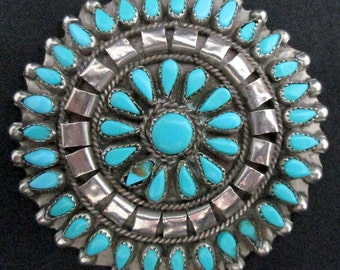 Vintage Southwest Silver and Turquoise Pin Pettipoint Large Handcrafted *TB191