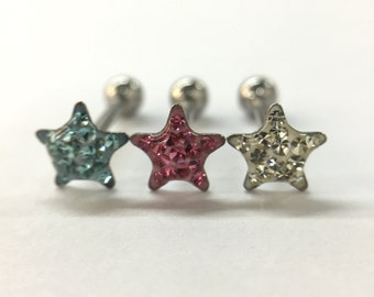 14G Star Dome Gem Tongue Ring - Choose your color