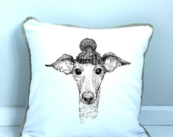 Pillow Cover Whippet in Hat
