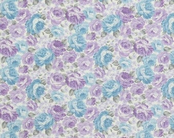 Shabby Chic Fabric, Lavender Roses Fabric,  Purple and Blue Fabric, Cotton Fabric, Quilting Fabric