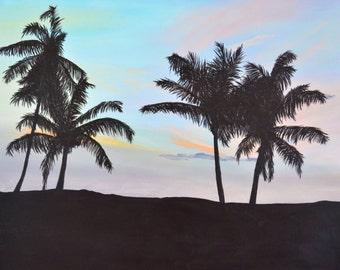 Barbados palm tree sunrise - original acrylic painting