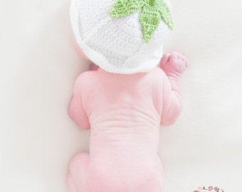 Snowdrop crochet newborn hat for newborn photography