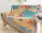 World Map Throw Blanket/Warm blanket/knit blanket/Cotton blanket
