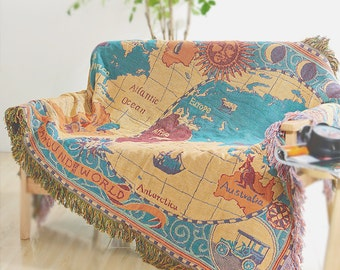 World Map Throw Blanket/Warm blanket/knit blanket/Cotton blanket