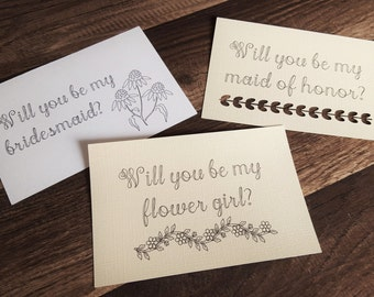 Bridal Party cards, Will you be my...? Set of 5 cards
