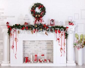 PHOTOGRAPHY Backdrop Christmas FirePlace Custom Photo Prop Tree (150cmx200cm)