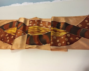 Hand Painted Silk Scarf, gold, bronze, brown, black - Bronzed Beauty