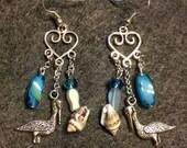 Chandelier seashell and pelicans earrings