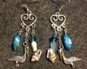 Chandelier seashell and pelicans earrings