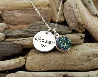 Chosen necklace,  hand stamped