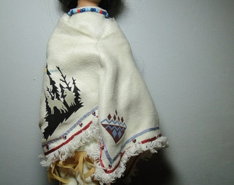 """Native  American Doll - 13"""" Tall - Cloth Body - Bisque Face Hands Feet - Nicely decorated -  Great Find!"""