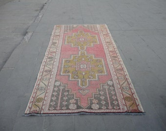 Vintage hand woven Turkish wool rug,pastel color rug,muted colors,100 x 53 inches