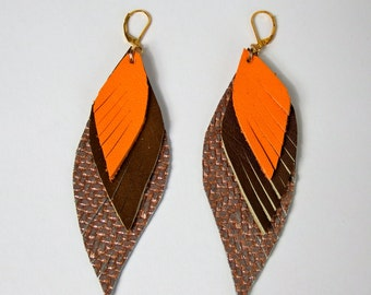 feather earrings, leather earring multicolor, Boho jewelry, Boho earrings, leather feathers, leather jewelry, red-gold-grey brown orange