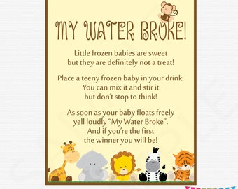 My Water Broke Game, Baby Shower Game, Safari Baby Shower Games, Frozen Baby