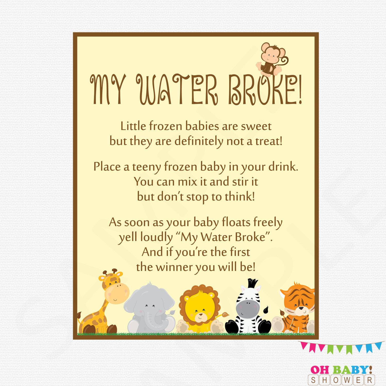 my water broke game baby shower game safari baby shower