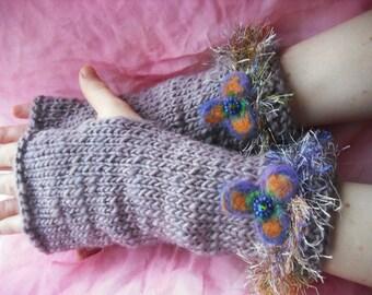 Handknitted fingerless mittens, fingerless gloves - Butterfly smile