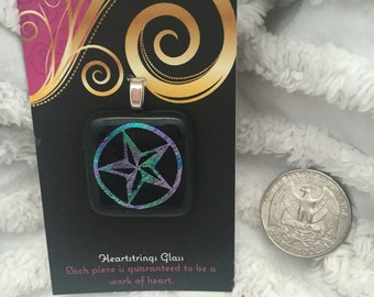 Texas Star Dichroic Etched Glass Pendant or Ornament