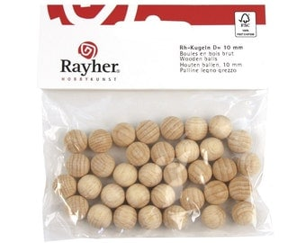 Rayher 25 mm unperforated, unfinished wood balls