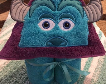 Hooded Towel personalized Kind Blue Monster