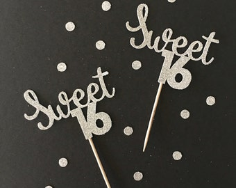 12 glitter Sweet 16 Cupcake Toppers, glitter cupcake toppers, birthday decorations, cupcake toppers
