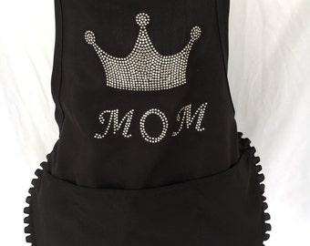 Rhinestone crown apron