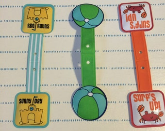 Set of Three Beach Magnetic Bookmarks with Brads, Magnetic Clips