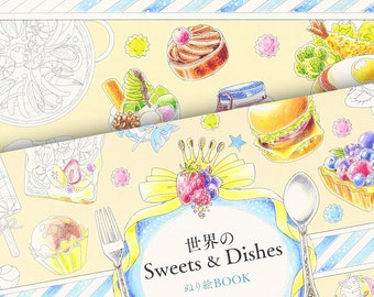 Japanese Sweets and Dishes Food Colouring Book // Ice Cream, Dessert, Macaron, Cake, Chocolate, Sweet Treats.. //