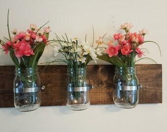 Clear Mason Jars, wall decor, home decor, rustic decor, bedroom decor, kitchen decor, flower wall display, mason jars
