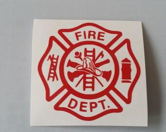 FIRE Fireman Firefighter Vinyl Decal .. FREE Shipping ..  Window Car Laptop Wine Glass Beer Mug Frame Sports Bottle Organizer Sticker