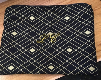Large zipper pouch with monogram