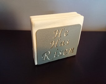"""Silver """"He Has Risen"""" napkin holder"""