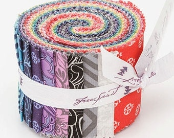 """Tula Pink - True Colors Design Roll - 20 2.5"""" strips quilting cotton freespirit precut quilting lady bugs jelly roll red blue FB3FQTP.TRUEC"""