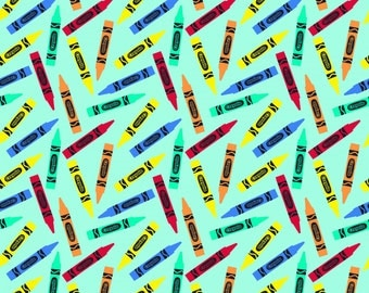 Crayola Crayon Riley Blake, blue, knit, Colorfully Creative, cotton spandex, licensed, jersey  K5403R-Blu 4way 50% stretch