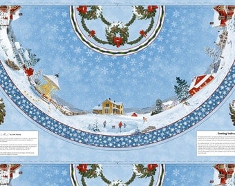 Winter's Eve Tree Skirt Panel by John Sloane - quilting, cotton, fabric, Christmas tree, snow, classic, panel, table cloth, mantel cloth