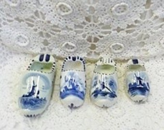 Vintage Collection of Delft Blue Dutch Handpainted Shoes Made in Holland