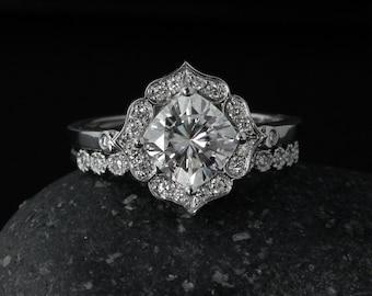 Forever One Moissanite Flower Petal Engagement Ring - Diamond Wedding Band