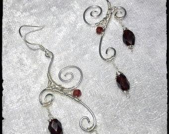 925 Silver earrings with Garnet