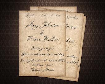 Rustic Wedding Invitation, Music Invite Printable, Vintage Wedding, code-012