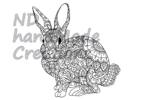 Items Similar To Paisley Doodle Rabbit Bunny N1 Animal Pattern Printable Coloring Book Sheet Adults Children PDF JPG Download Illustration Art Digital On