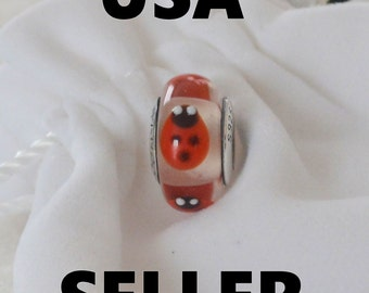 Authentic Pandora Red Lady Bugs Glass Bead Charm