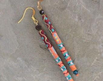Stick earrings, dangle earrings, handpainted earrings, paper bead earrings, boho chic earrings, bohemian jewelry, hippie earrings, girl gift