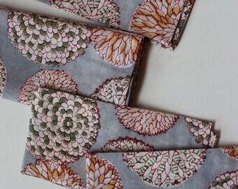 Gray napkins cloth napkins set of 4 (or more) rustic eco friendly table napkins hostess gift for her printed handmade