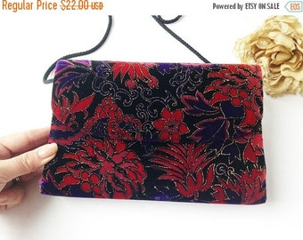 SALE Black Velvet Purse with Red and Purple / Vintage Black Velvet Purse / Vintage Velvet Purse / Red Velvet Purse / Purple Velvet Purse
