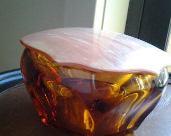 Powder Jar - Amber glass bowl with Celluloid pink lid c1930