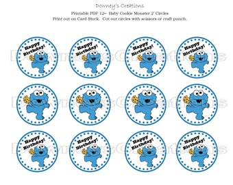 BABY COOKIE MONSTER Cupcake Toppers
