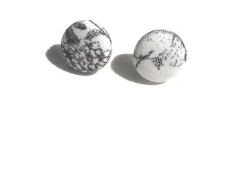 Black & White Floral Fabric Button Earrings