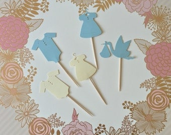Baby Shower Cupcake Toppers Blue Pink Yellow Gray Green | Baby Shower Decorations