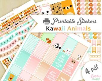 Animaux kawaii pastel | Printable stickers | 4 pdf | Téléchargement instantané | Planner, Happy planner